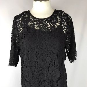 Black Lace Blouse Gold Button Back Small
